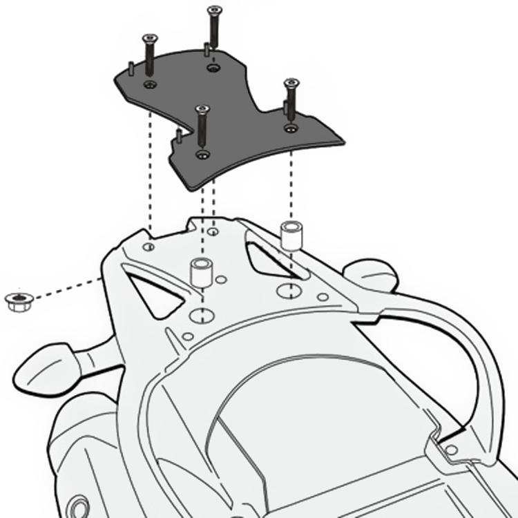 Площадка крепления кофра (багажник) GiVi (для кофра Kappa/GiVi) Monolock, арт: 10005 - Системы крепления и площадки для кофров
