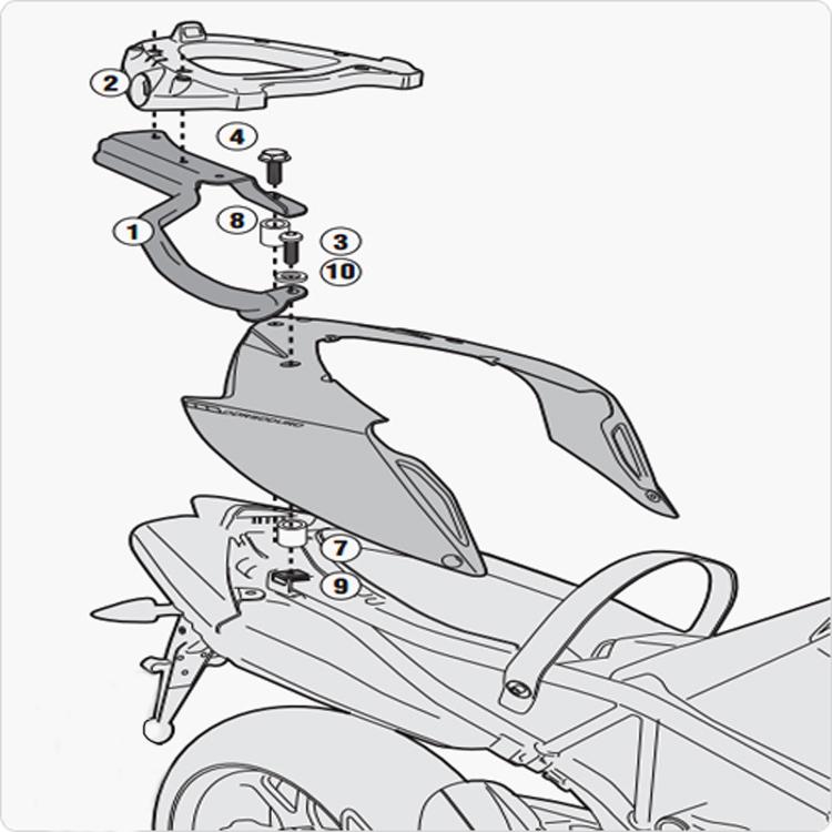 Площадка крепления кофра (багажник) GiVi (для кофра Kappa/GiVi) Monolock, арт: 10006 - Системы крепления и площадки для кофров