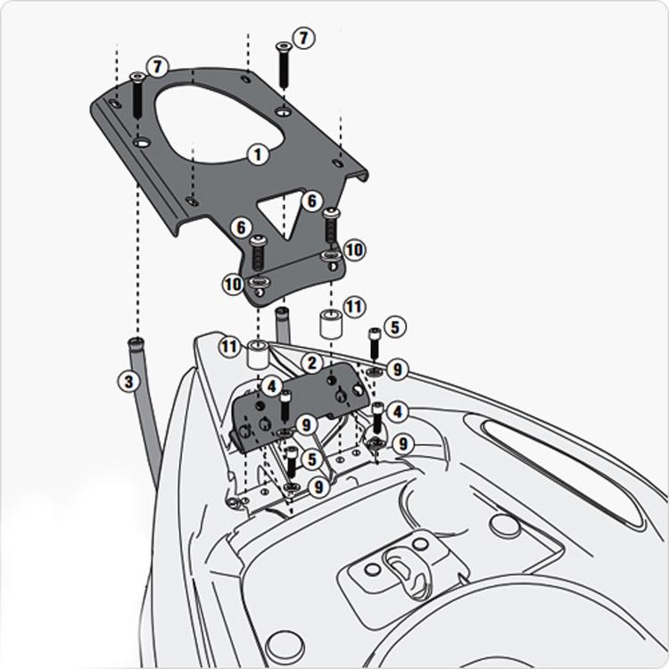 Площадка крепления кофра (багажник) GiVi (для кофра Kappa/GiVi) Monolock, арт: 10007 - Системы крепления и площадки для кофров