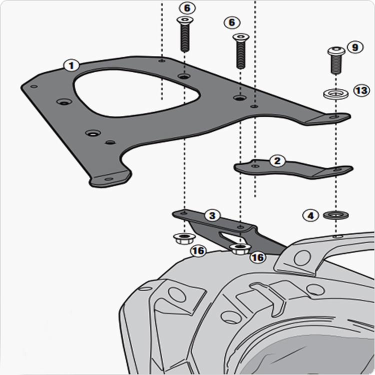 Площадка крепления кофра (багажник) GiVi (для кофра Kappa/GiVi) Monolock, арт: 10008 - Системы крепления и площадки для кофров
