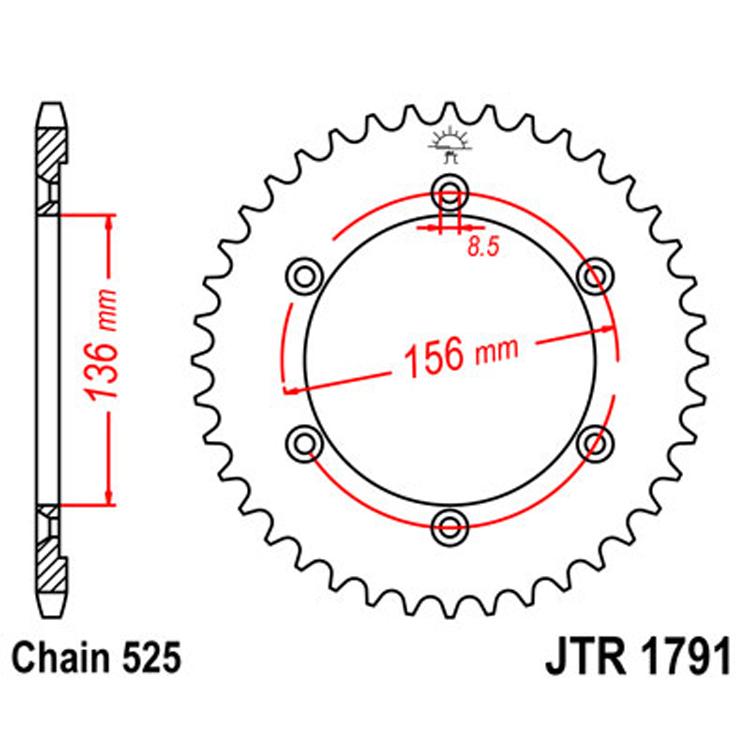 Звезда ведомая(задняя) JTR1791-42, арт: 10386 - Звезды для цепи #525#