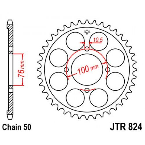 Звезда ведомая(задняя) JTR824-46, арт: 10387 - Звезды для цепи #530 (50)#