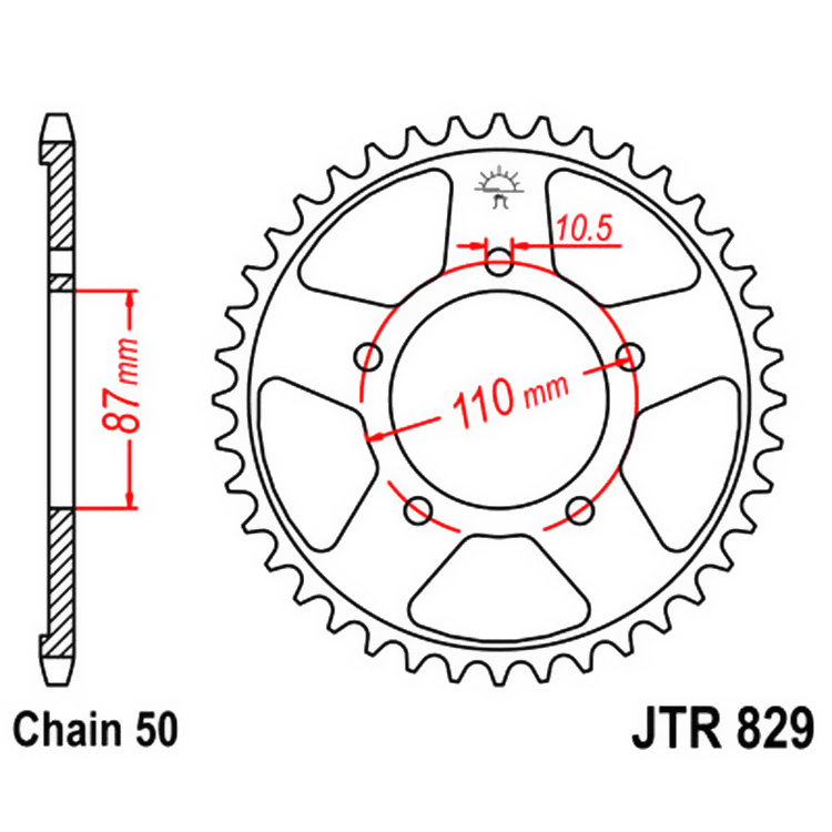 Звезда ведомая(задняя) JTR829-43, арт: 10393 - Звезды для цепи #530 (50)#