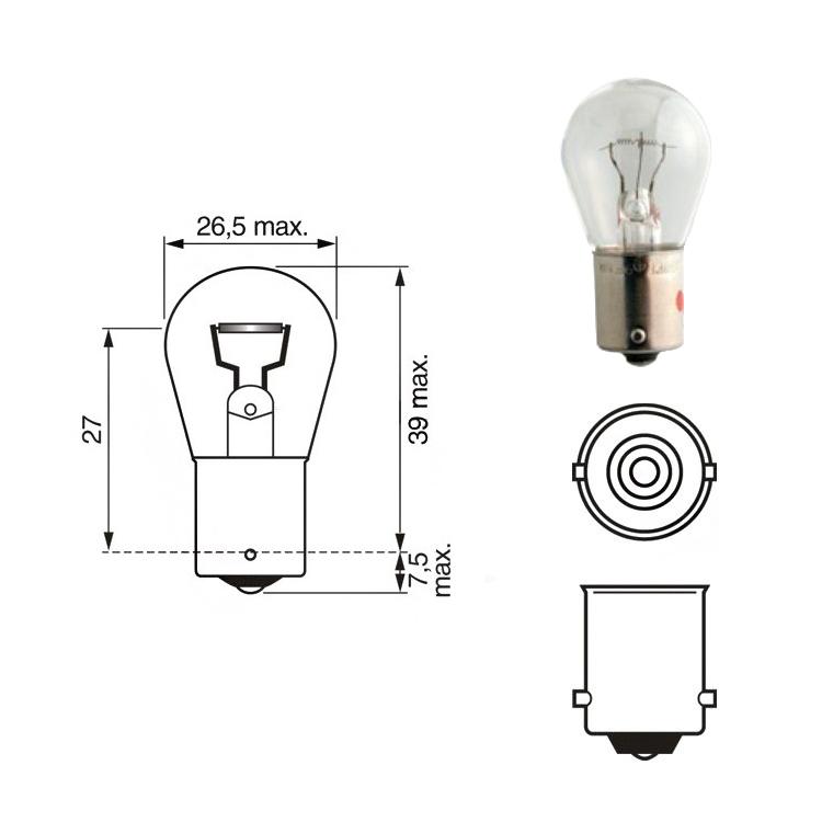 Лампа накаливания P15W 12V 15Вт Narva, арт: 10586 - Лампы
