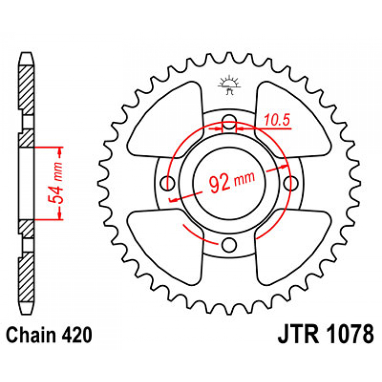 Звезда ведомая(задняя) JTR1078-47, арт: 10657 - Звезды для цепи #420#