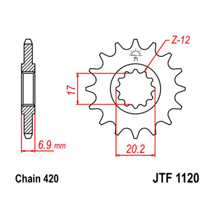 Звезда ведущая (передняя) JTF1120-12, арт: 10658 - Звезды для цепи #420#