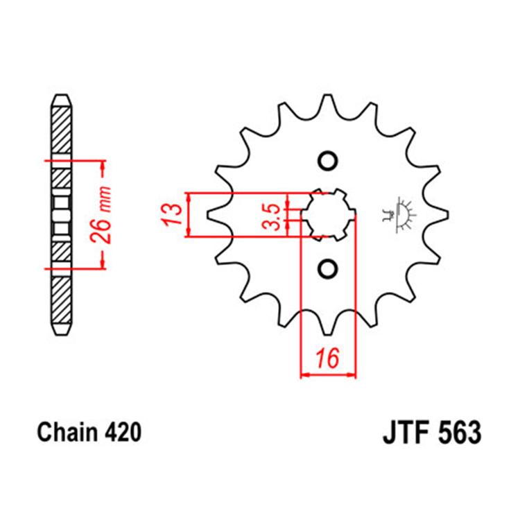 Звезда ведущая (передняя) JTF563-13, арт: 10659 - Звезды для цепи #420#