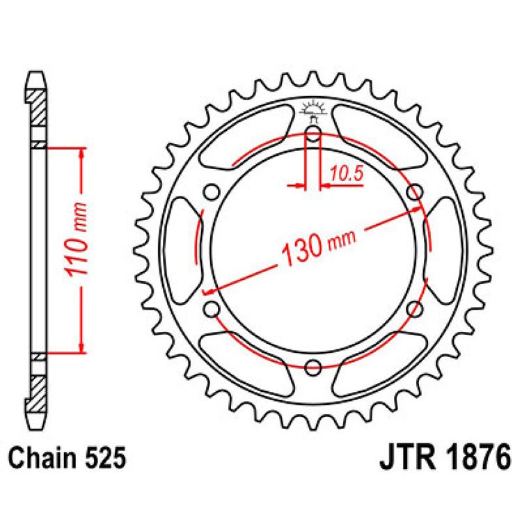 Звезда ведомая(задняя) JTR1876-44, арт: 10695 - Звезды для цепи #525#