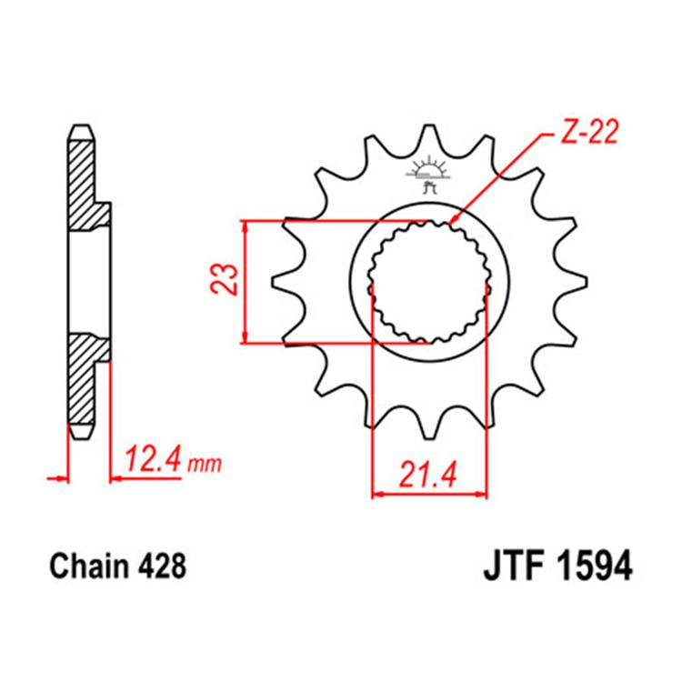 Звезда ведущая (передняя) JTF1594-15, арт: 10715 - Звезды для цепи #428#