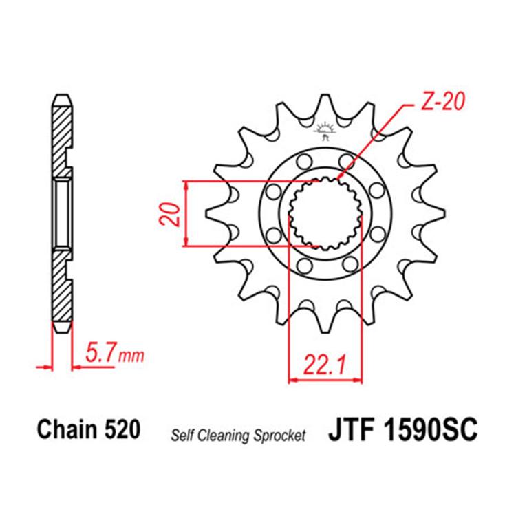 Звезда ведущая (передняя) JTF1590SC-13, арт: 10717 - Звезды для цепи #520#