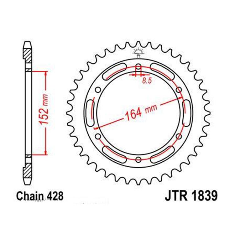 Звезда ведомая(задняя) JTR1839-55, арт: 10743 - Звезды для цепи #428#