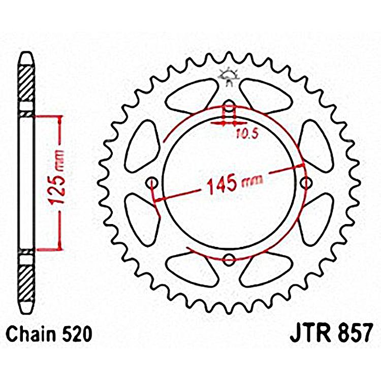 Звезда ведомая(задняя) JTR857-40, арт: 10754 - Звезды для цепи #520#