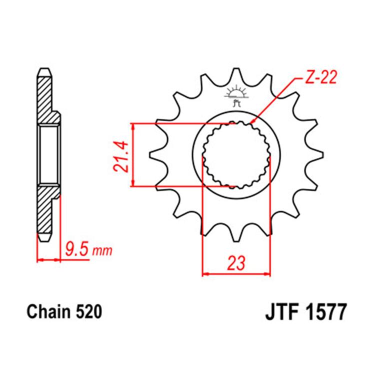 Звезда ведущая (передняя) JTF1577-15, арт: 10766 - Звезды для цепи #520#