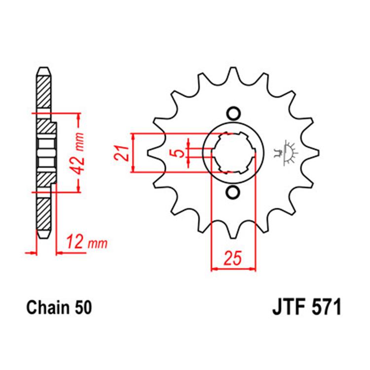 Звезда ведущая (передняя) JTF571-17, арт: 10771 - Звезды для цепи #530 (50)#