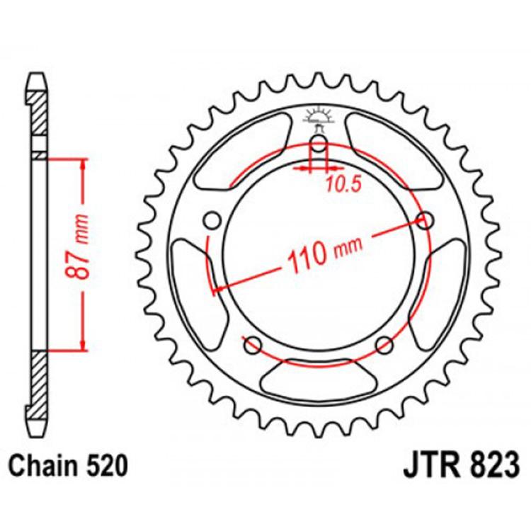 Звезда ведомая (задняя) JTR823-49, арт: 10780 - Звезды для цепи #520#