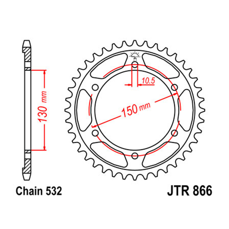 Звезда ведомая(задняя) JTR866-43, арт: 10794 - Звезды для цепи #532# и #630#