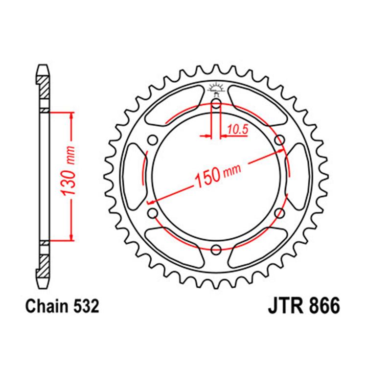 Звезда ведомая(задняя) JTR866-46, арт: 10795 - Звезды для цепи #532# и #630#