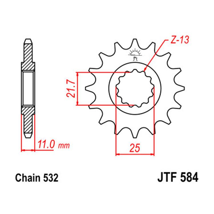 Звезда ведущая (передняя) JTF584-17, арт: 10796 - Звезды для цепи #532# и #630#