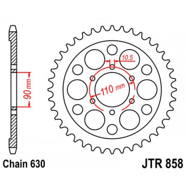 Звезда ведомая(задняя) JTR858-35, арт: 10801 - Звезды для цепи #532# и #630#