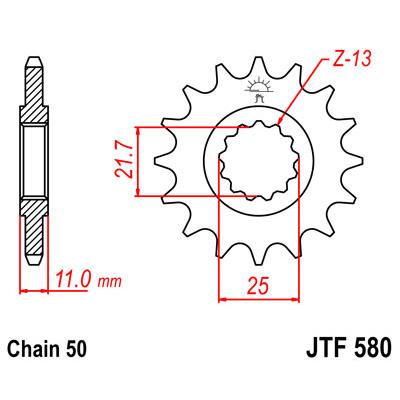 Звезда ведущая (передняя) JTF580-15, арт: 12247 - Звезды для цепи #530 (50)#