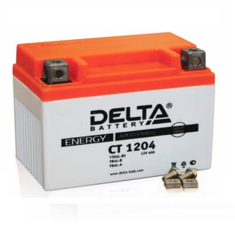 Аккумулятор Delta moto 12V CT 1204/4 а/ч (R+) 60А, арт: 3219 - Аккумуляторы Delta