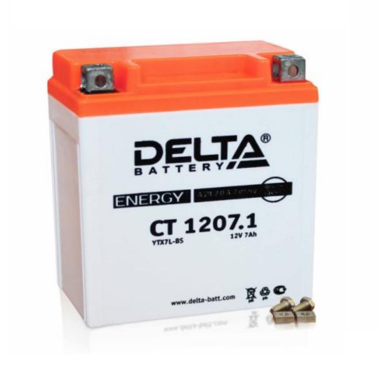 Аккумулятор Delta moto 12V CT 1207.1/ 7 а/ч (R+) 105А, арт: 3221 - Аккумуляторы Delta