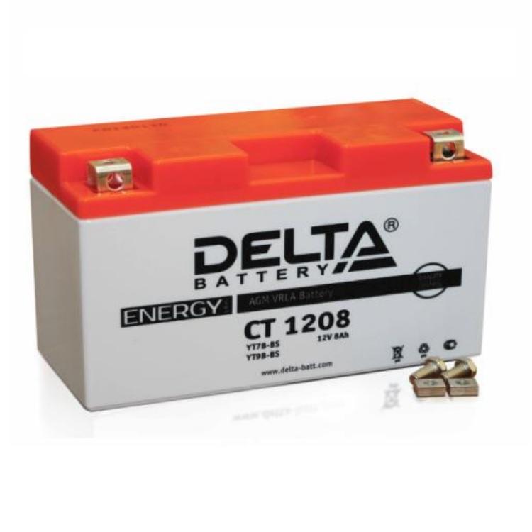 Аккумулятор Delta moto 12V CT 1208/8 а/ч (L+) 120А, арт: 3223 - Аккумуляторы Delta