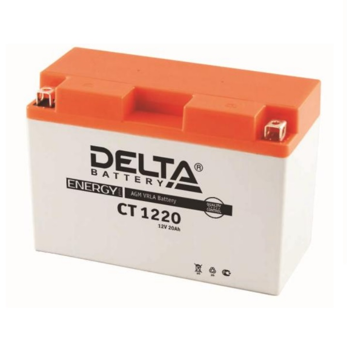 Аккумулятор Delta moto 12V CT 1220/20 а/ч (R+)230А, арт: 3233 - Аккумуляторы Delta