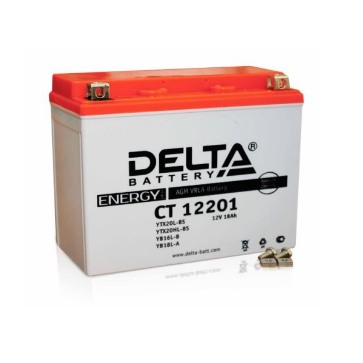 Аккумулятор Delta moto 12V CT 12201/ 18 а/ч (R+)200А, арт: 3234 - Аккумуляторы Delta