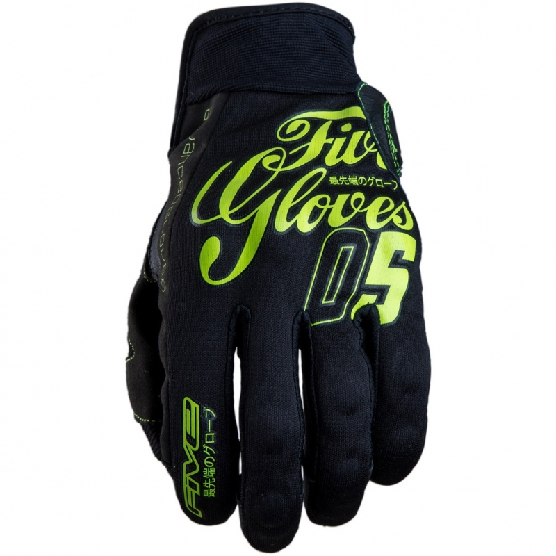 Перчатки летние FIVE Hiro Fluo Yellow черные с салатовым, арт: 5276 - Перчатки