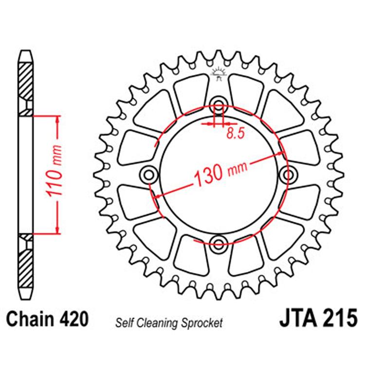 Звезда ведомая(задняя) алюминиевая JTA215-52, арт: 8096 - Звезды для цепи #420#