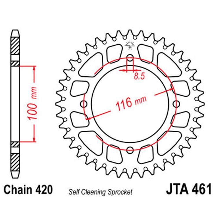 Звезда ведомая(задняя) алюминиевая JTA461-50, арт: 8110 - Звезды для цепи #420#