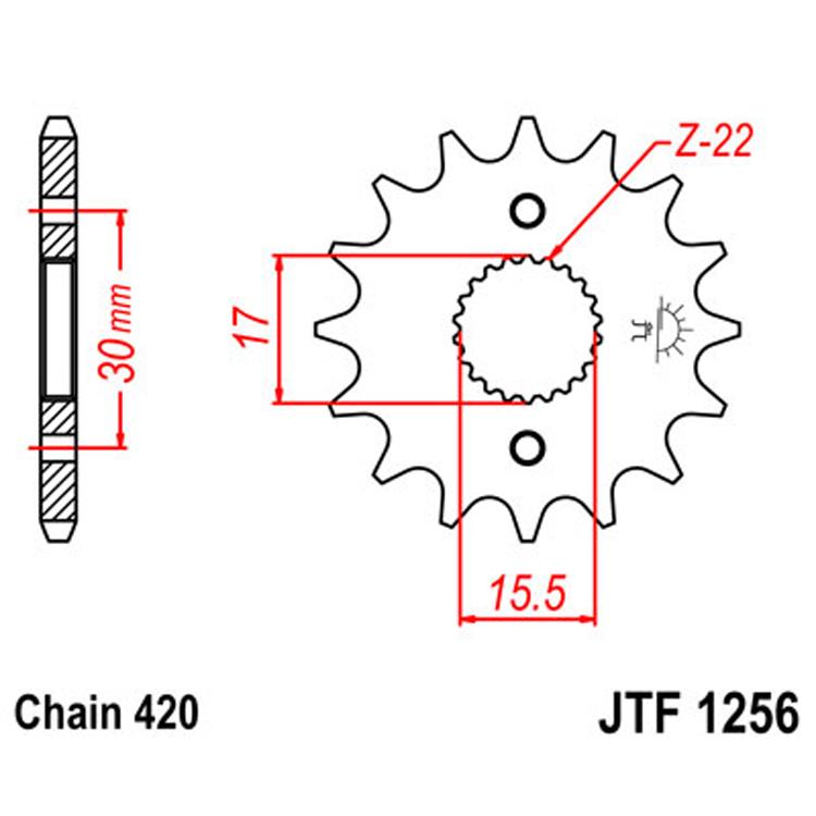 Звезда ведущая (передняя) JTF1256-15, арт: 8182 - Звезды для цепи #420#