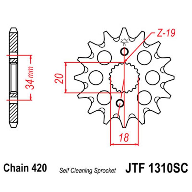 Звезда ведущая (передняя) JTF1310-15 SC, арт: 8191 - Звезды для цепи #420#