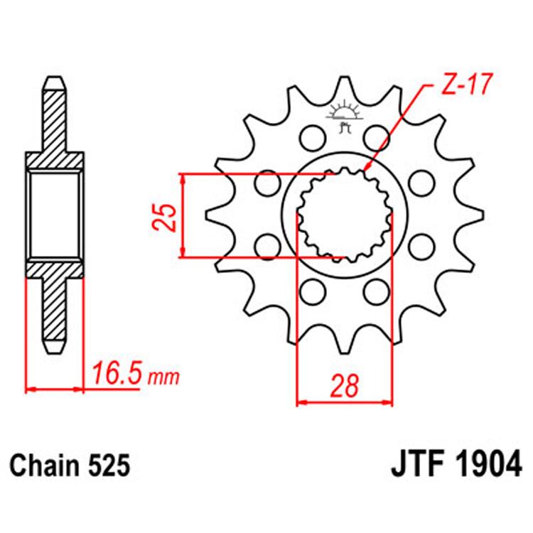 Звезда ведущая (передняя) JTF1904-16, арт: 8278 - Звезды для цепи #525#