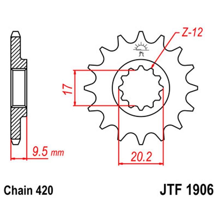 Звезда ведущая (передняя) JTF1906-12, арт: 8280 - Звезды для цепи #420#