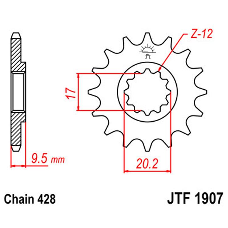 Звезда ведущая (передняя) JTF1907-14, арт: 8284 - Звезды для цепи #428#
