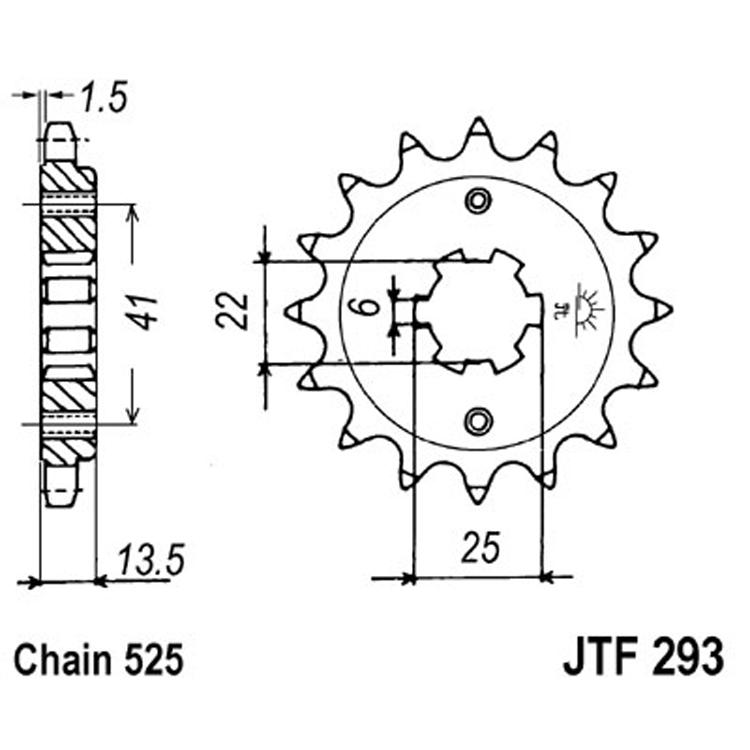 Звезда ведущая (передняя) JTF293-16, арт: 8298 - Звезды для цепи #525#