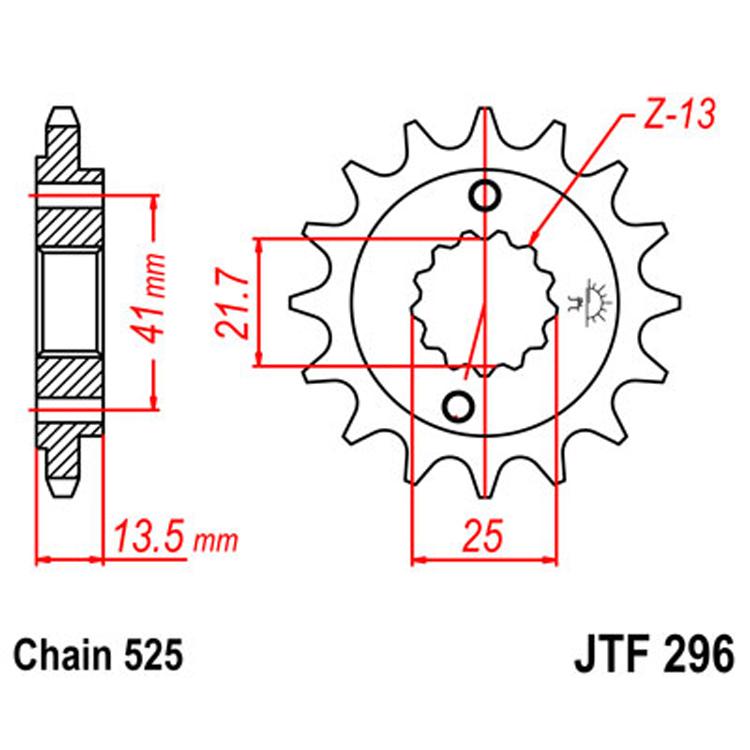 Звезда ведущая (передняя) JTF296-15, арт: 8301 - Звезды для цепи #525#