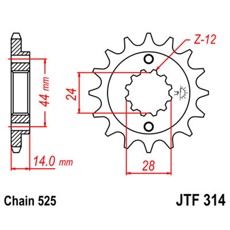 Звезда ведущая (передняя) JTF314-16, арт: 8304 - Звезды для цепи #525#
