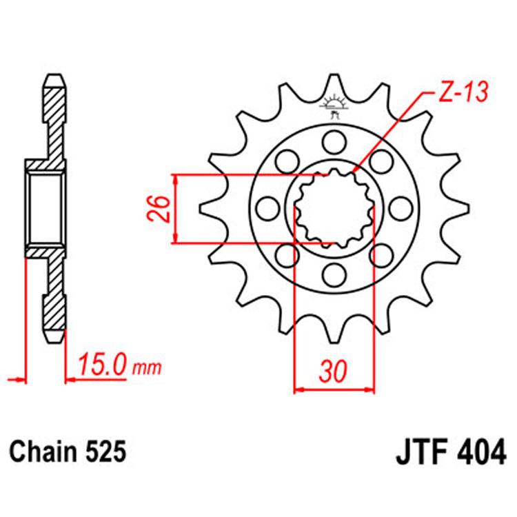 Звезда ведущая (передняя) JTF404-17, арт: 8330 - Звезды для цепи #525#
