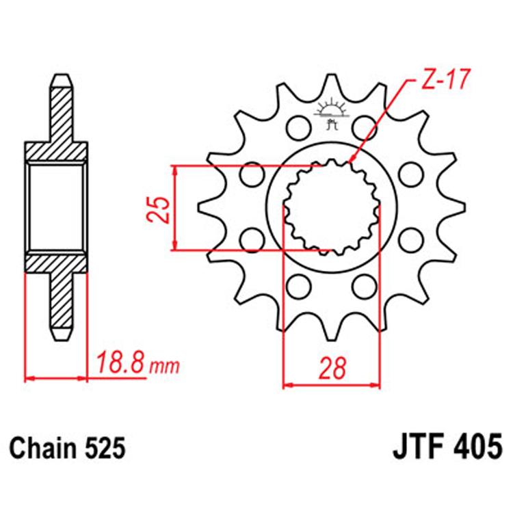 Звезда ведущая (передняя) JTF405-20, арт: 8331 - Звезды для цепи #525#