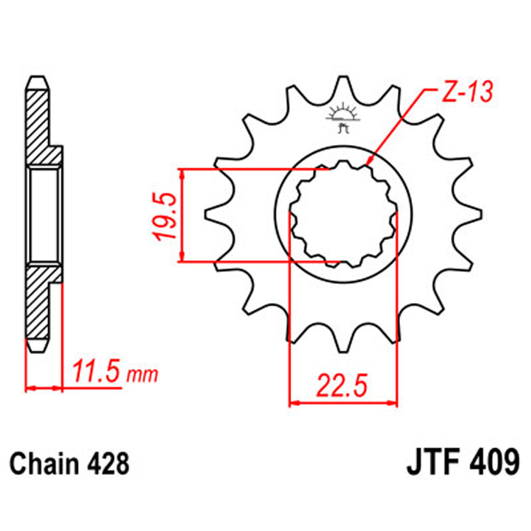 Звезда ведущая (передняя) JTF409-16, арт: 8332 - Звезды для цепи #428#