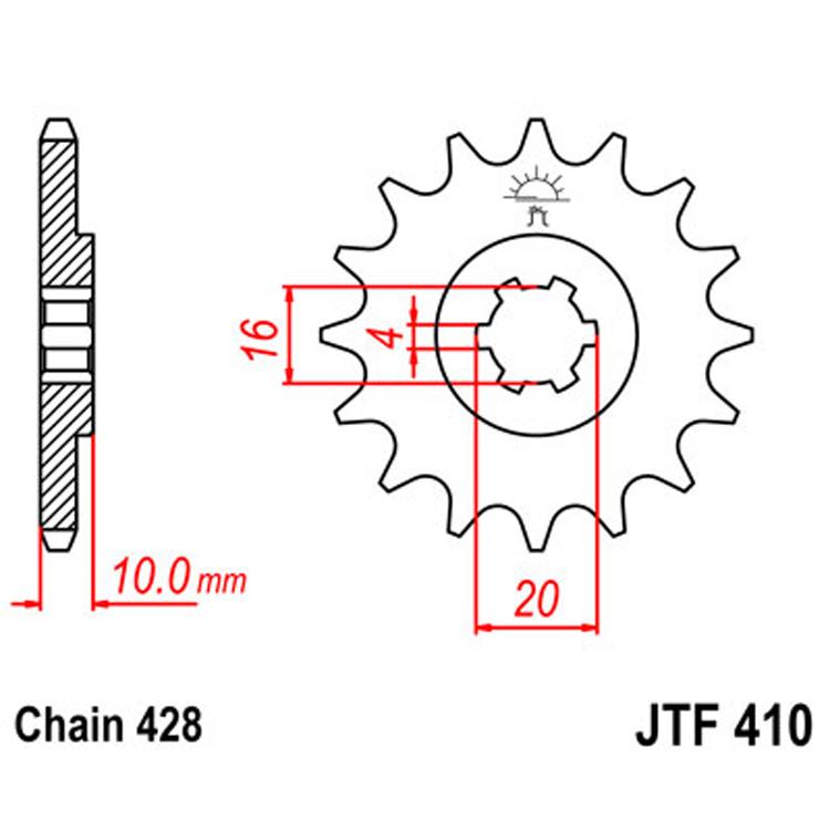 Звезда ведущая (передняя) JTF410-14, арт: 8333 - Звезды для цепи #428#