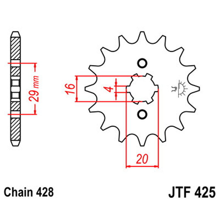 Звезда ведущая (передняя) JTF425-17, арт: 8341 - Звезды для цепи #428#