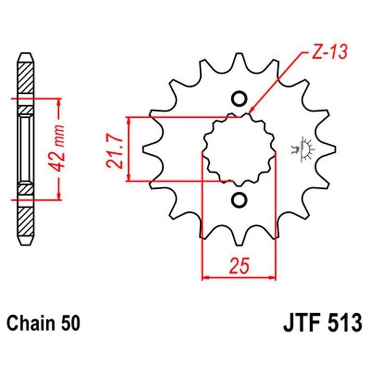 Звезда ведущая (передняя) JTF513-16, арт: 8363 - Звезды для цепи #530 (50)#
