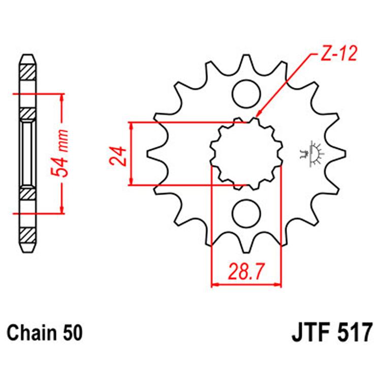 Звезда ведущая (передняя) JTF517-16, арт: 8368 - Звезды для цепи #530 (50)#