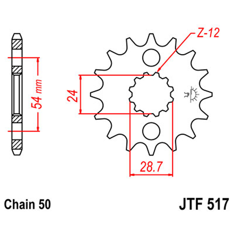 Звезда ведущая (передняя) JTF517-18, арт: 8370 - Звезды для цепи #530 (50)#
