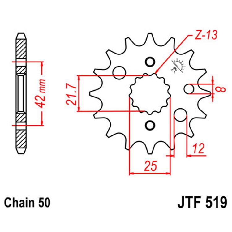 Звезда ведущая (передняя) JTF519-15, арт: 8371 - Звезды для цепи #530 (50)#