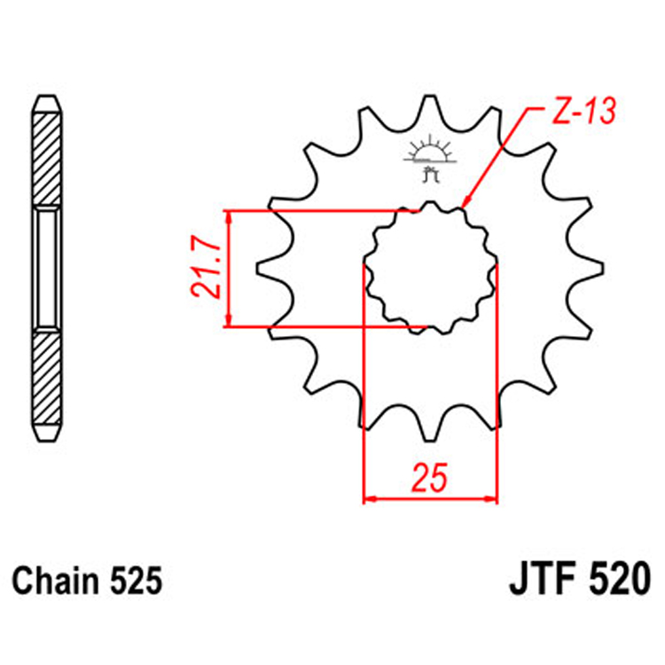 Звезда ведущая (передняя) JTF520-17, арт: 8373 - Звезды для цепи #525#
